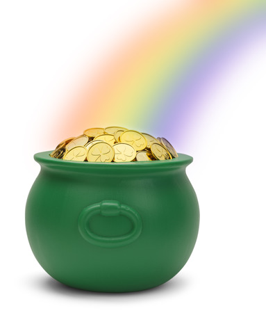Green Pot of Gold with a Rianbow Isolated on White Background.