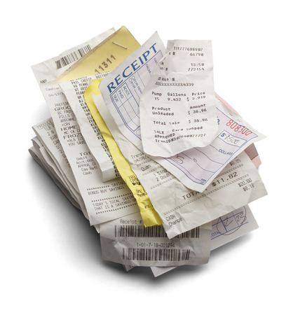 Pile of Varioous Receipts Isolated on White Background.