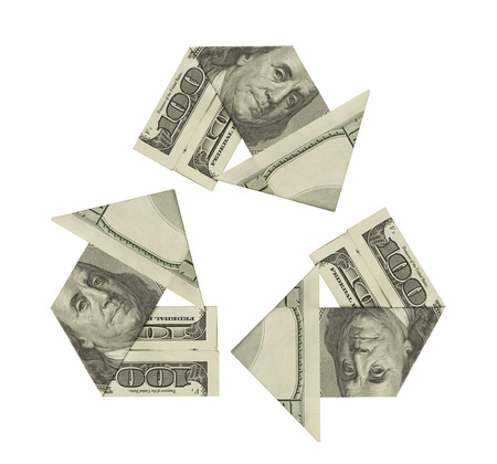 cash flow: One Hundred Dollar Bills ina Recycle Symbol Isolated on White Background. Stock Photo