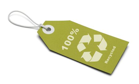 Green Tag with Recycle Symbol Isolated on White Background. photo