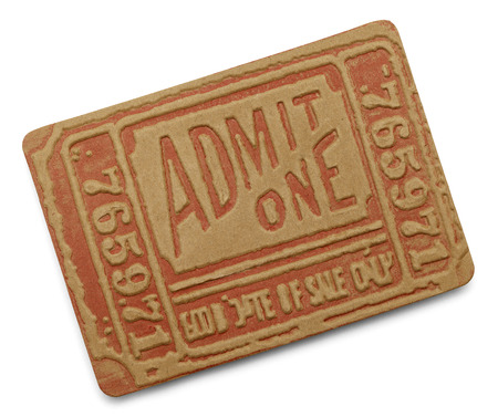 Large Old Red Admit One Ticket Isolated on White Background.