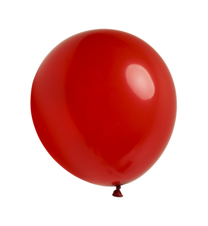 red balloon: Latex Ballon Floating and Isolated on White Background.