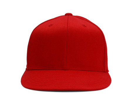 Red Baseball Hat Front View With Copy Space Isolated on White Background. Фото со стока