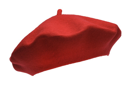 french culture: French Felt Beret Front Isolated on White Background.