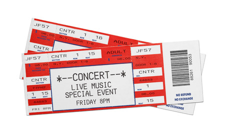 Pair of Blank Red Concert Performance Tickets Isolated on White Background. Archivio Fotografico