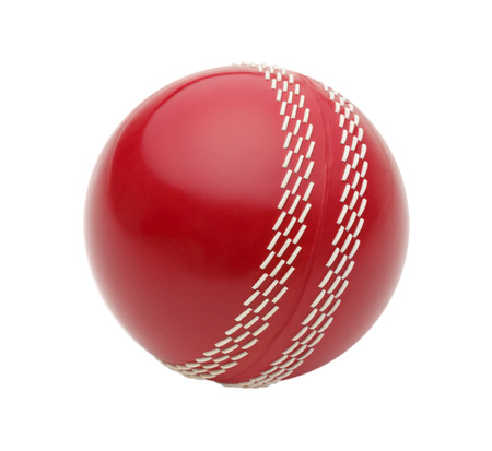 cricket: Red Cricket Ball Isolated on White Background.