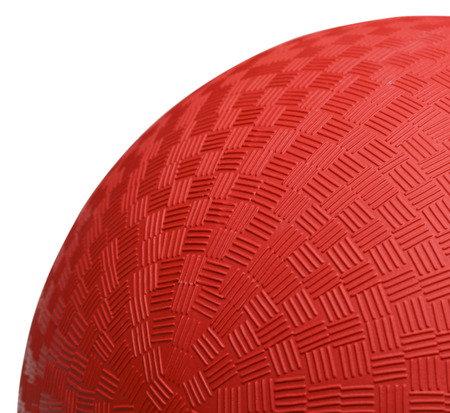 dodge: Close up Section of Red Dodge Ball Isolated on White Background.