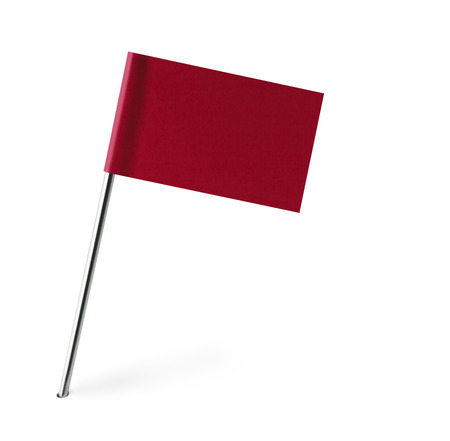 distant spot: Red Flag Isolated on White Background.