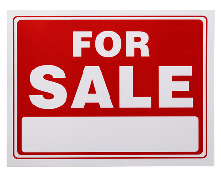 commercial sign: Red and White For Sale Sign with Copy Space Isolated on a White Background.