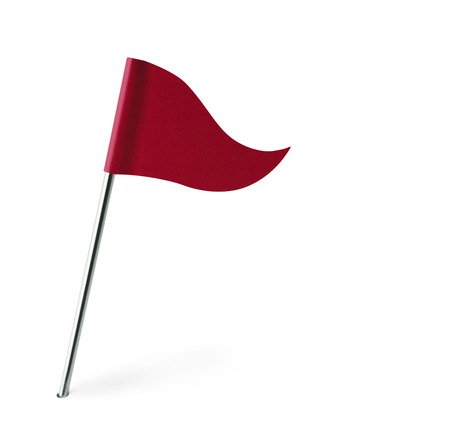 distant spot: Red Golf Flag Isolated on White Background.