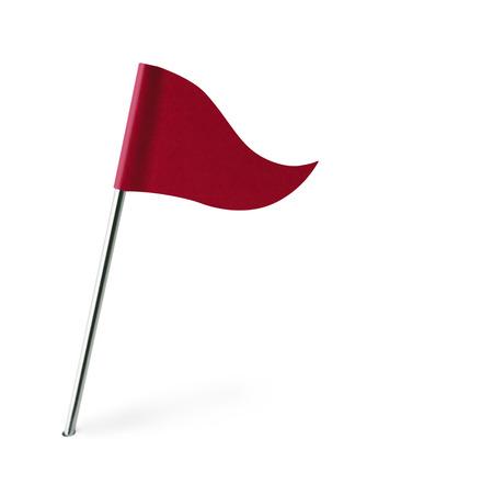 Rode Golf vlag geïsoleerd op een witte achtergrond.