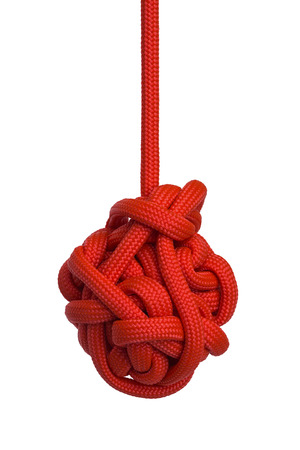 Large Red Hanging Knot Isolated on White Background.