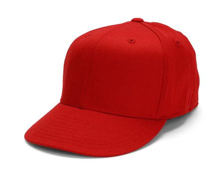 Red Baseball Hat With Copy Space Isolated on White Background.