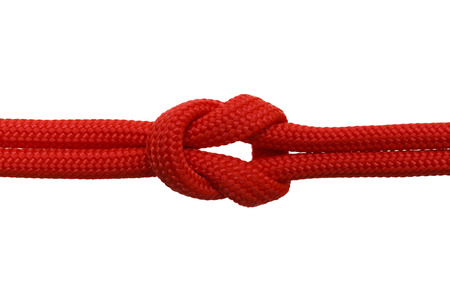 Red Rope in A Knot Isolated on White Background.