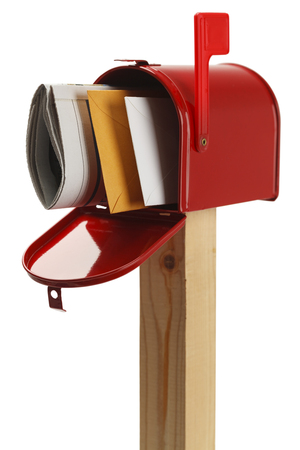 Mailbox with Letters and  Newspaper Isolated on White Background.