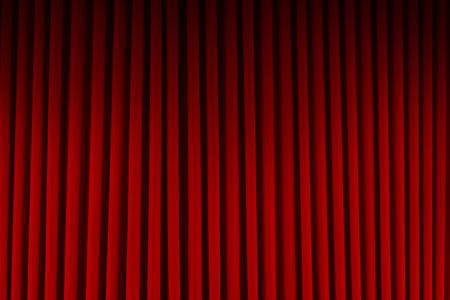 lighting background: Red Velvet Stage Curtains Dim Lit Background. Stock Photo