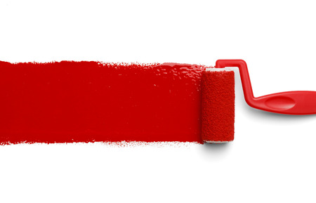 Plastic Paint Roller with Red Paint Isolated on White Background. Stok Fotoğraf