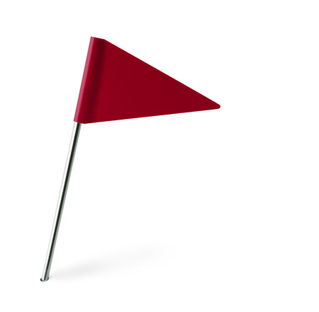 Red Pennant Flag Isolated on White Background.