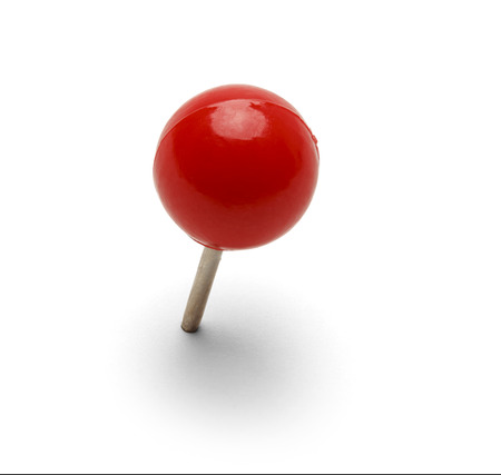 Round Red Thumb Tack Punaise Op Een Witte Achtergrond. Stockfoto