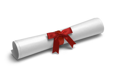 ged: School Degree with Red Ribbon Isolated on White Background.