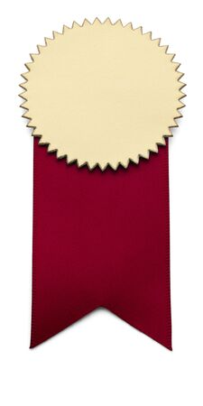 seal stamper: Red and Gold second place Award Ribbon on isolated white.