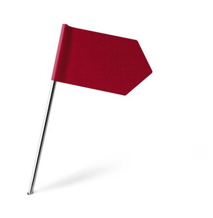 distant spot: Red Sign Flag Isolated on White Background.
