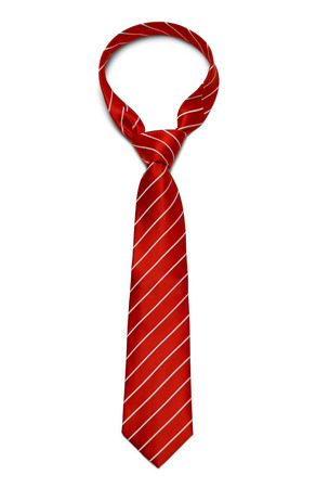 necktie: Red and White Striped Tie Isolated on White Background.