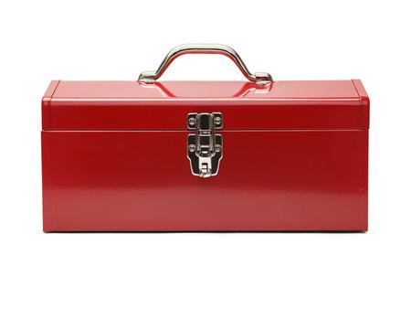 herramientas de trabajo: Tool Box cerrado aislado en un fondo blanco.