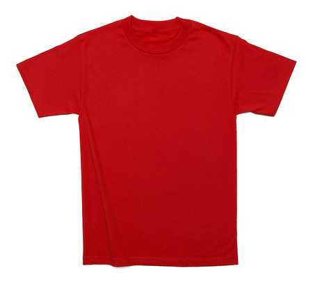 v neck: Red Cotton Shirt with Copy Space Isolated on White Background. Stock Photo