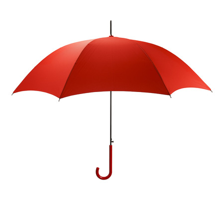 Bright Red Umbrella Side  View Isolated on White Background. Banque d'images