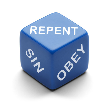 repent: Blue Dice with Repent Sin and Obey on it Isolated on a White Background.