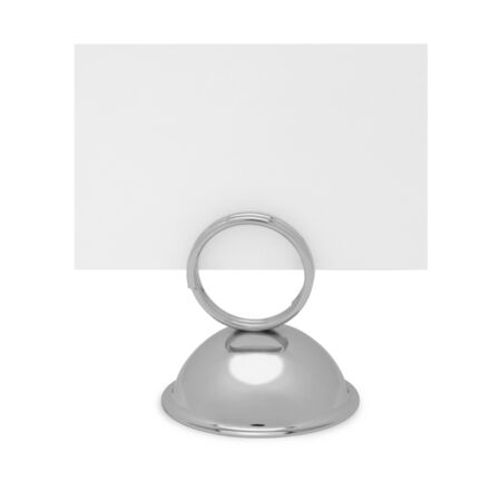 social grace: Table Top Reserved Sign Holder and Card Isolated on White Background. Stock Photo