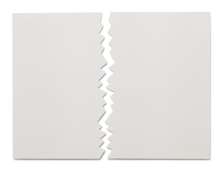 half cut: Piece of White Paper Ripped in Half Isolated on White Background.