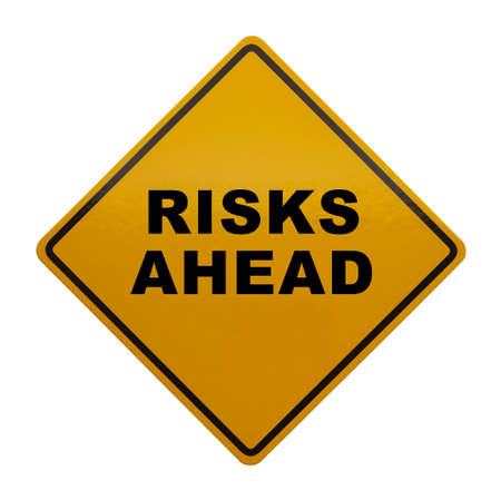 risks ahead: Muestra de la precauci�n que dec�a Riesgos Ahead aisladas sobre fondo blanco.