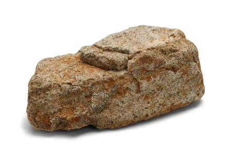 careless: Single Stone Isolated on White Background. Stock Photo