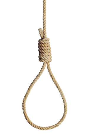 Old West Hang Mans Noose Isolated on White Background.