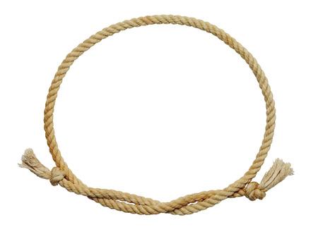 óvalo: Vieja cuerda Dirty Marco oval aislado en fondo blanco.