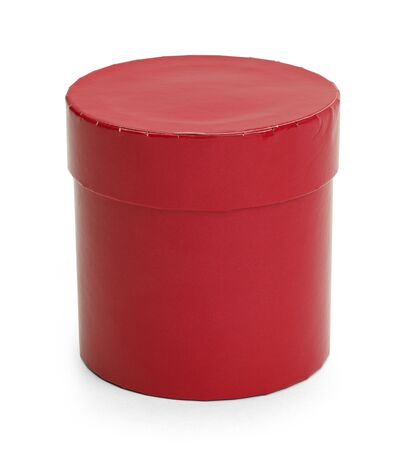 Red Cylinder Cardboard Box Isolated on White Background.