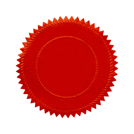 Round Oranate Red Seal With Copy Space Isolated on White Background. photo