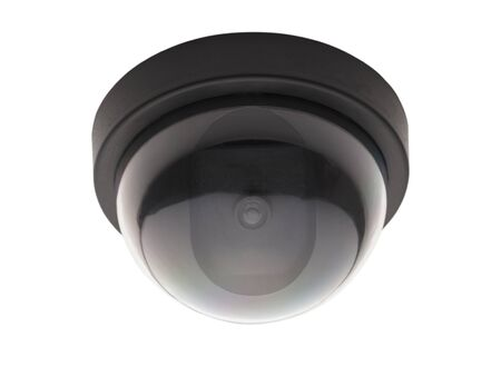 looking away from camera: Bubble Black Ceiling Surveillance Camera Isolated on White Background.