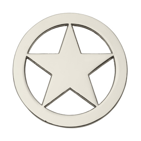 estrella de la vida: Estrella Insignia redonda de plata aislado en el fondo blanco. Foto de archivo