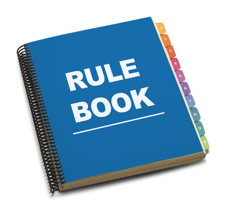 instruction manual: Large Spiral Bound Bule Rule Book with Tabs Isolated on White Background.
