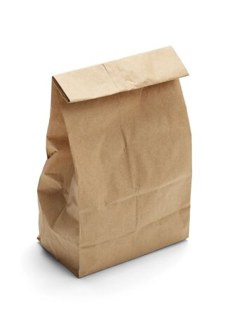 white paper bag: Brown Paper Bag Lunch with Copy Space Isolated on White Background. Stock Photo