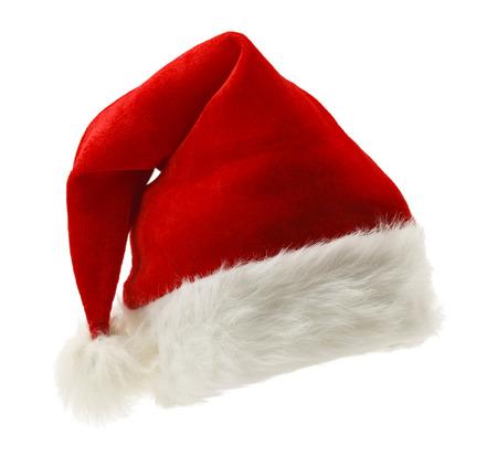 白い背景で隔離の赤と白のクリスマス帽子。
