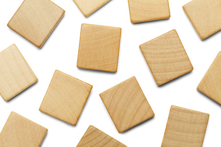 Random Wood Scrable Pieces with Copy Space Isolated on White Background.