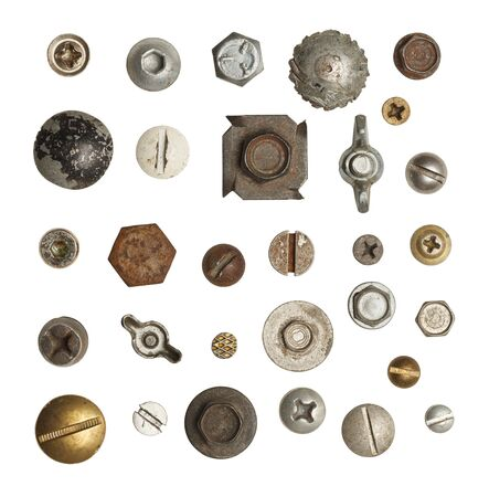 things that go together: Metal, Wood and Drywall Screws and Bolts  Isolated on White Background.
