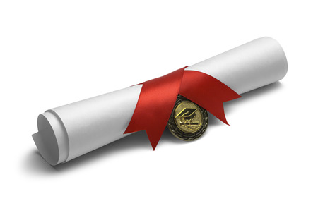 ged: Degree Scroll with Red Ribbon and Diploma Medal Isolated on White Background. Stock Photo