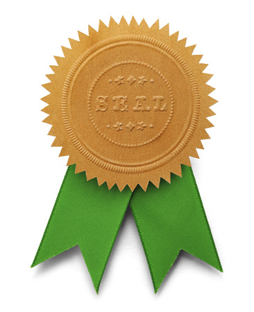 seal stamper: Gold Embossed Seal With Green Ribbons Isolated on White Background. Stock Photo