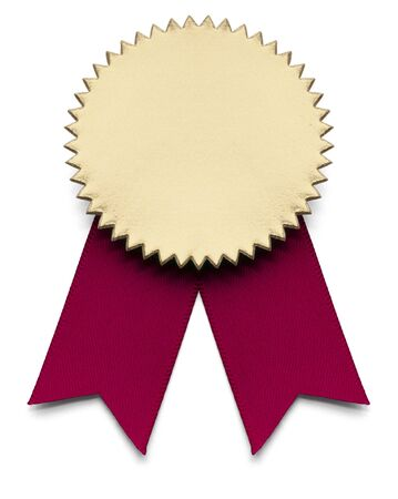 seal stamper: Red and Gold Award Ribbon on isolated white.