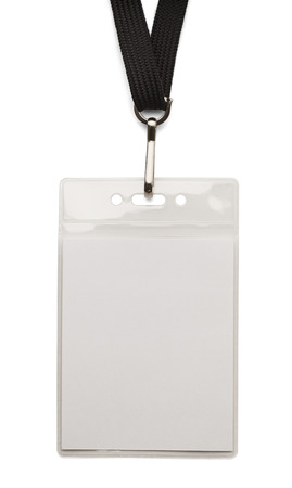 id card: Blank security badge with band isolated on white background.